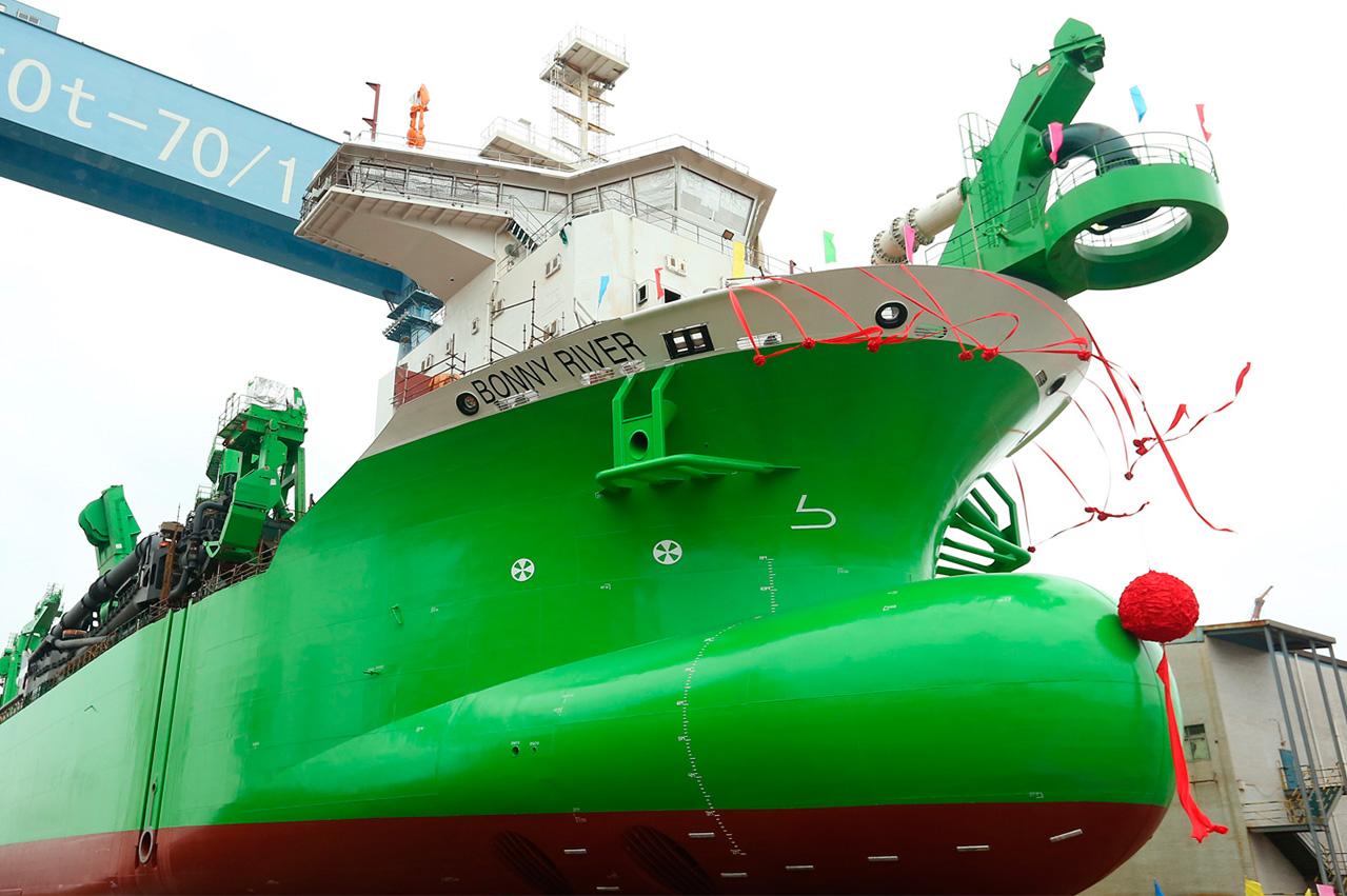 COSCO Guangdong Shipyard launches LNG dual fuelled TSHD