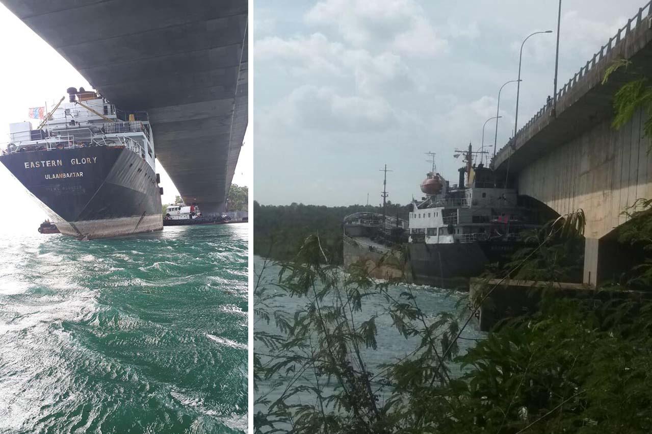 "Indonesia: Bunker tanker ""Eastern Glory"" stuck under bridge at Batam"