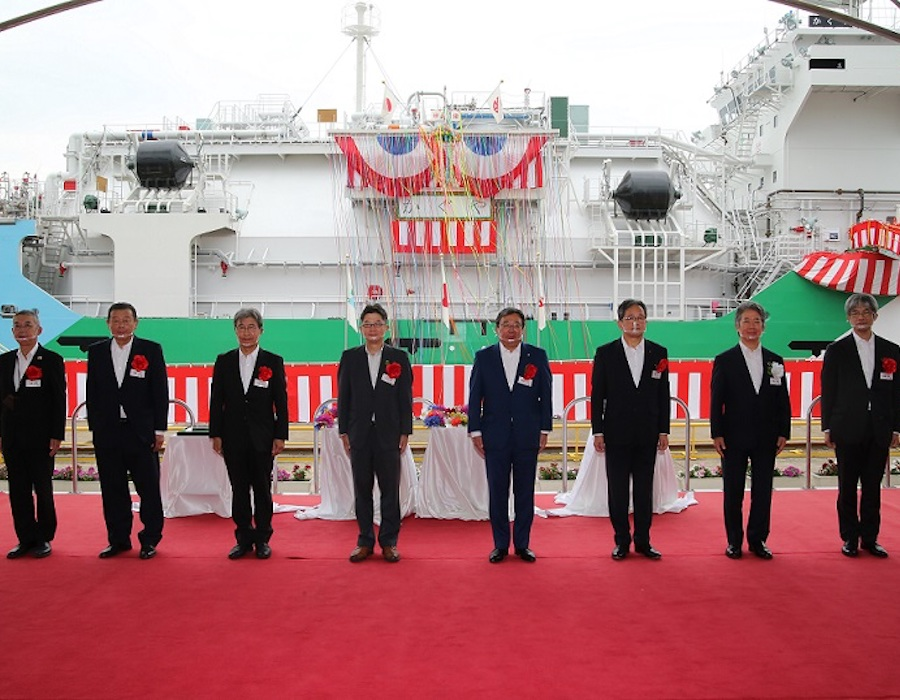 NYK holds naming ceremony for 'Kaguya', the first LNG bunkering vessel in Japan