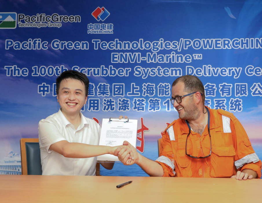 Pacific Green Technologies celebrates 100th scrubber installation with PowerChina SPEM