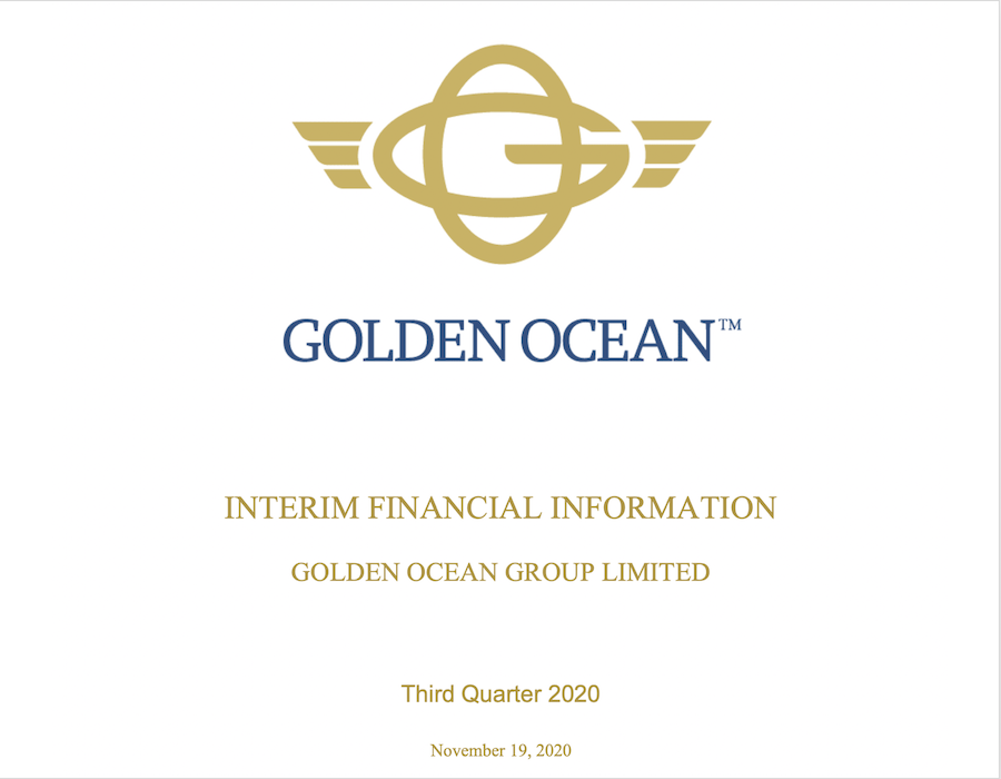 TFG Marine USD 0.3 million loss reflected in Golden Ocean Q3 2020 financial report