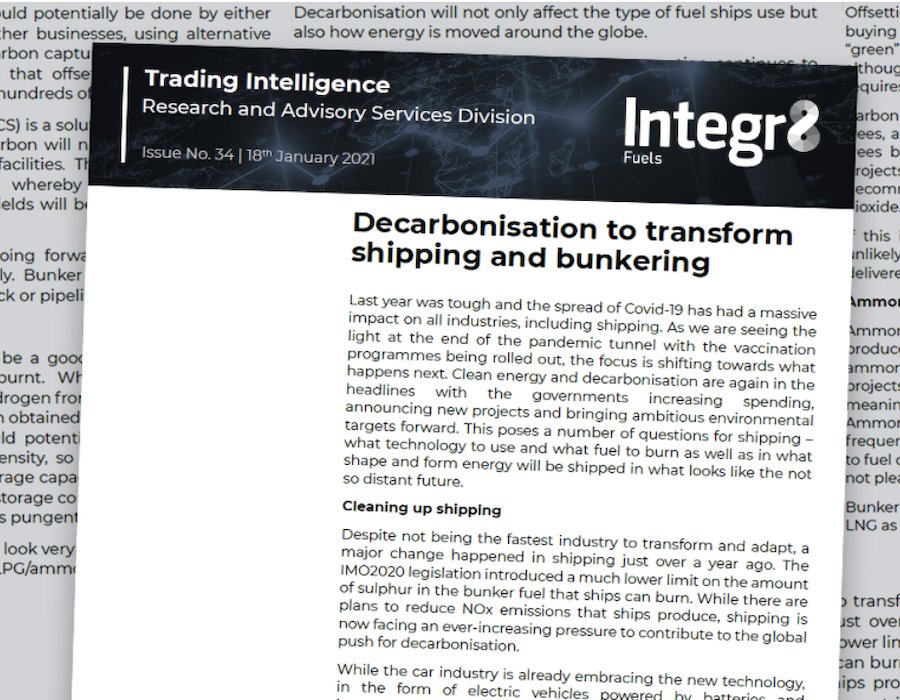 Integr8 Fuels: Decarbonisation to transform shipping and bunkering