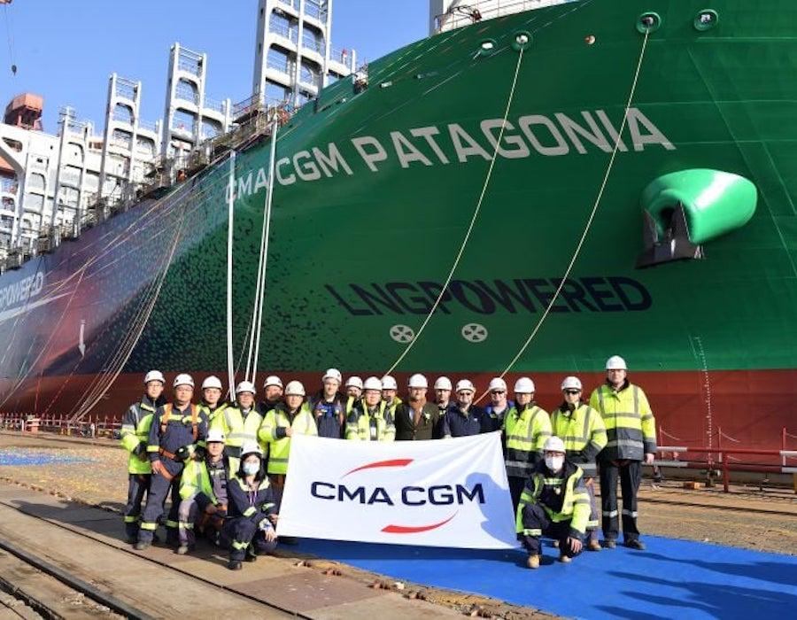 CSSC Jiangnan Shipyard launches CMA CGM LNG fueled box ship 'CMA CGM Patagonia'