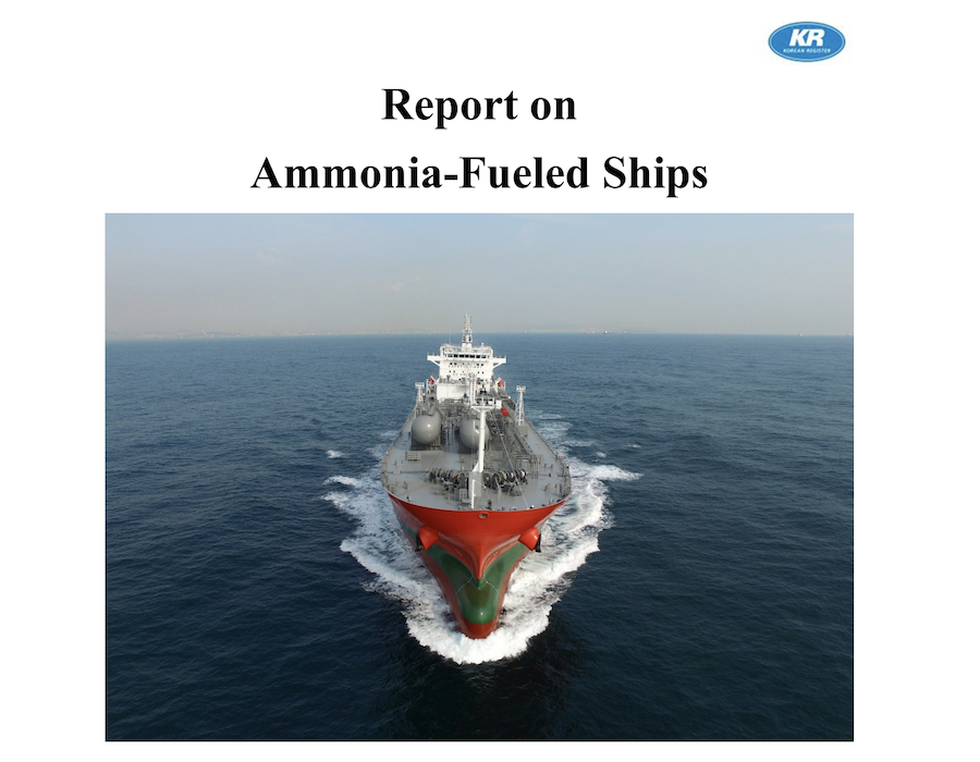 Korean Register releases technical report for ammonia powered vessels