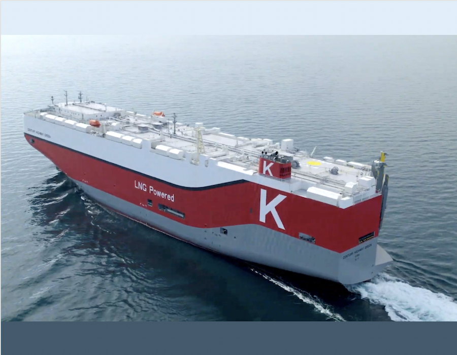 """""""K"""" Line welcomes delivery of LNG-fuelled car carrier 'Century Highway Green'"""