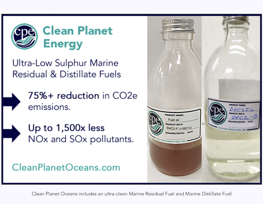 Clean Planet Energy debuts bunker fuels made from non-recyclable plastic waste