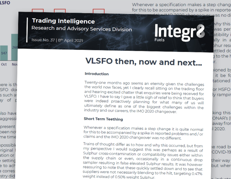 Integr8 Fuels: VLSFO then, now and next