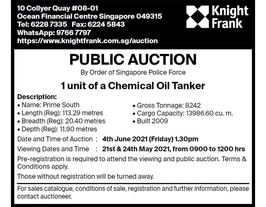 """Shell MGO bunker heist: Forfeited oil tanker """"Prime South"""" to undergo auction in June"""