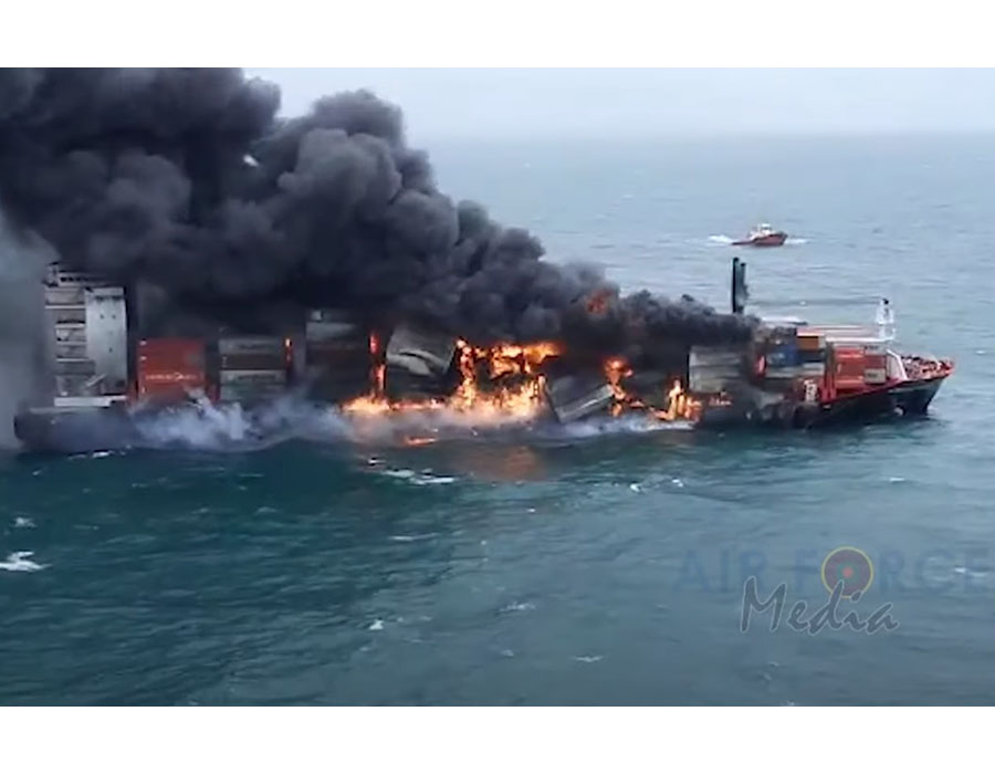 """Singapore-flagged """"X-Press Pearl"""" hull remains fully intact, no bunker spill detected"""