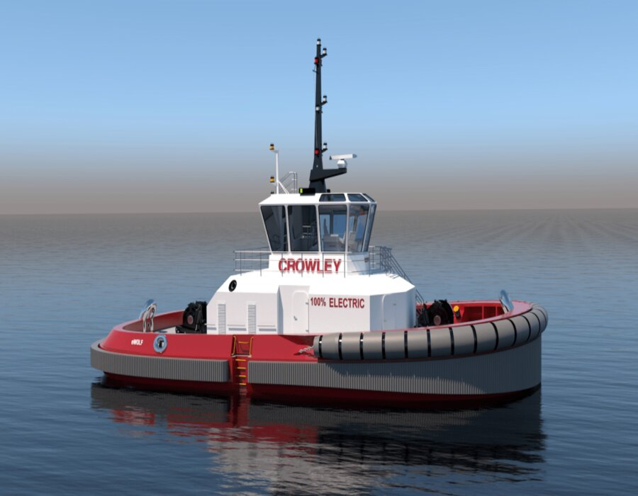 """Crowley Maritime Corporation orders first fully electric tugboat """"eWolf"""" in the U.S."""