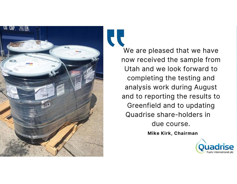Quadrise receives oil samples from Greenfield; start feasibility tests for MSAR production