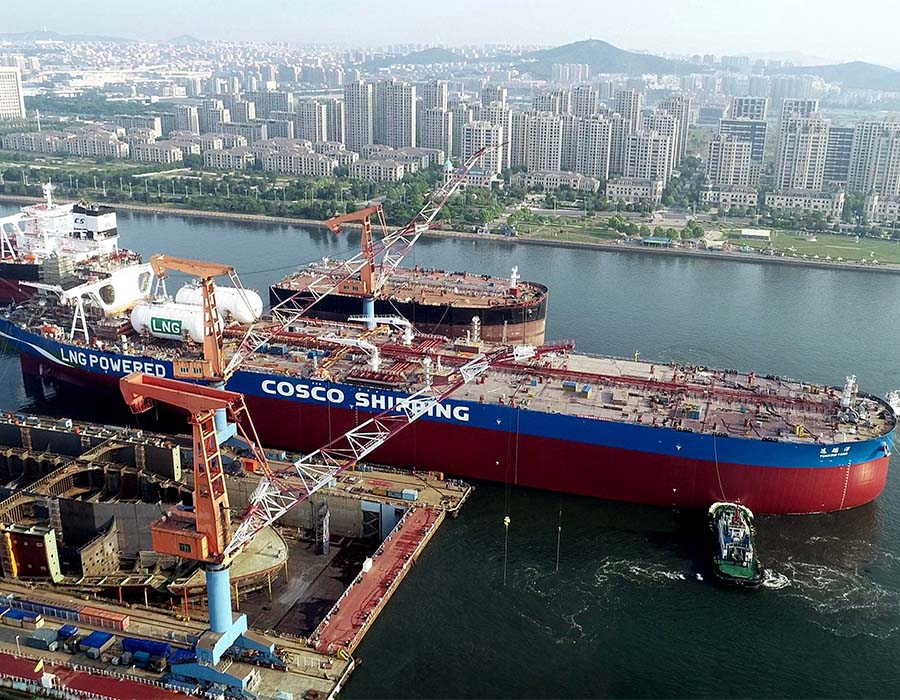 CSSC shipyard first LNG DF VLCC for COSCO Shipping starts sea trial